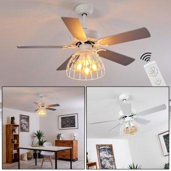 IZOLA ceiling fan grey, white, 3-light sources, Remote control