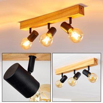 BARBENGO Ceiling Light black, Light wood, 3-light sources