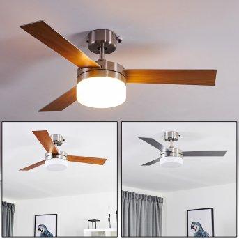 VEVEY ceiling fan matt nickel, silver, Light wood, 2-light sources, Remote control