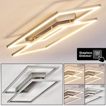 VEYRIER Ceiling light LED brushed steel, 2-light sources