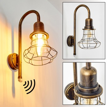 BORKAN outdoor wall light brown, gold, 1-light source, Motion sensor