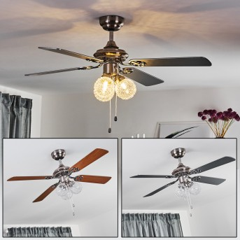 ESTEPONA ceiling fan LED chrome, brown, white, 3-light sources