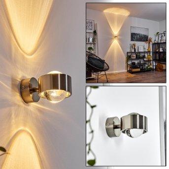 Hofstein Sapri wall light matt nickel, 1-light source