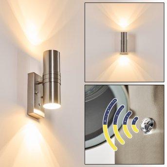 SATAVA outdoor wall light LED matt nickel, 2-light sources