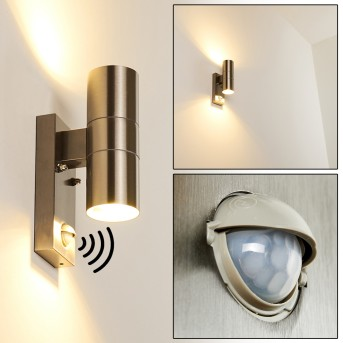 BRACHY Outdoor Wall Light stainless steel, 2-light sources, Motion sensor