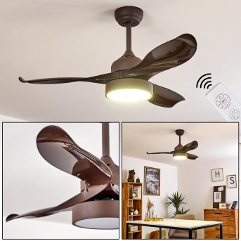 DOHA ceiling fan LED brown, 1-light source, Remote control
