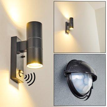 BRACHY Outdoor Wall Light grey, 2-light sources, Motion sensor