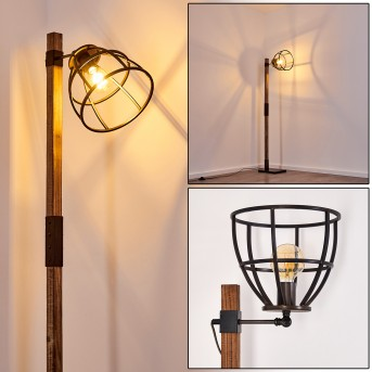 HAERVEJ Floor Lamp black, Dark wood, 1-light source