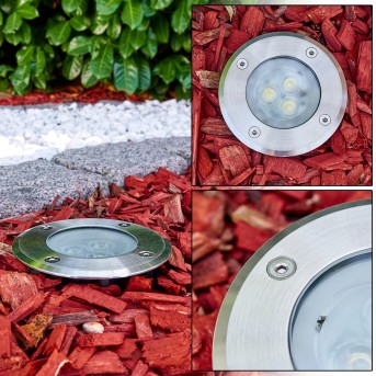 Recessed Ground light Ronshoved LED chrome, black, 3-light sources