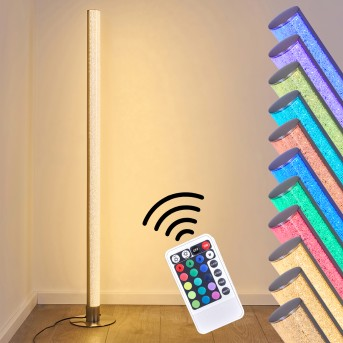 Pipe Floor Lamp LED matt nickel, 1-light source, Remote control, Colour changer