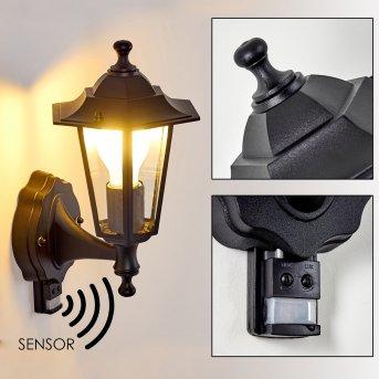 VALTIMO outdoor wall light black, 1-light source, Motion sensor