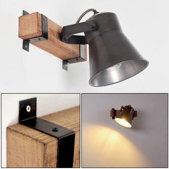 SKODSBOL Wall Light Dark wood, brushed steel, 1-light source