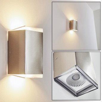 PARGAS outdoor wall light LED stainless steel, 1-light source
