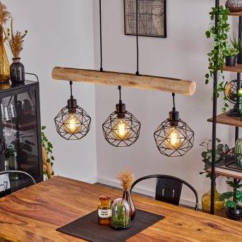 BACABAL Pendant Light black, Light wood, 3-light sources