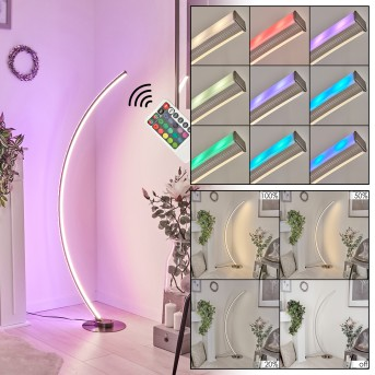Scar RGB Floor Lamp LED matt nickel, 1-light source, Remote control, Colour changer
