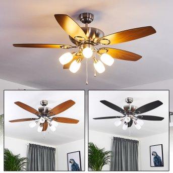 IRVING ceiling fan chrome, grey, Light wood, 5-light sources