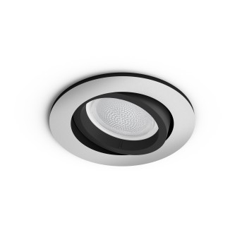 Philips HUE AMBIANCE WHITE & COLOR CENTURA Recessed spotlight, extension silver, 1-light source, Colour changer