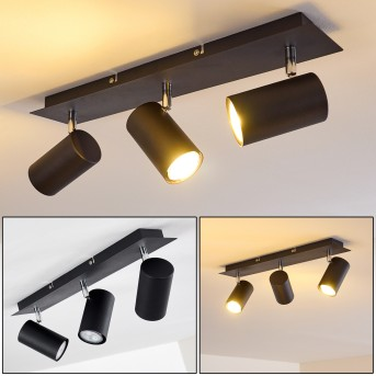 Ceiling Light Zuoz chrome, black, 3-light sources