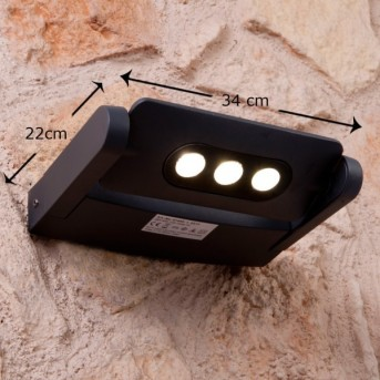 Lutec LEADSPOT outdoor wall light LED anthracite, 3-light sources
