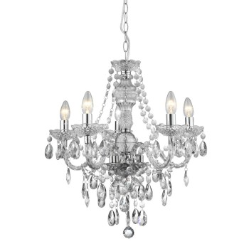 Chandelier Searchlight MARIE THERESE transparent, clear, 5-light sources