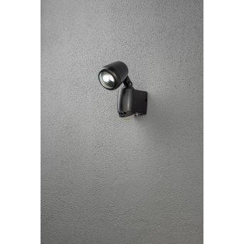 Konstsmide PRATO wall light LED black, 2-light sources, Motion sensor