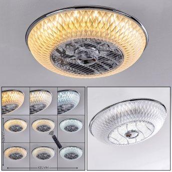 SITGES ceiling fan LED chrome, 1-light source, Remote control
