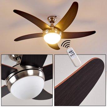 Ceiling Fan Morino matt nickel, brown, 2-light sources, Remote control