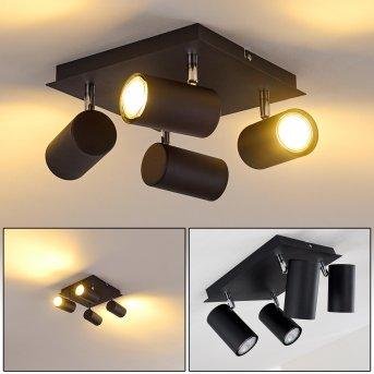Ceiling Light Zuoz chrome, black, 4-light sources