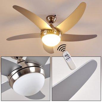 Ceiling Fan Morino matt nickel, silver, 2-light sources, Remote control