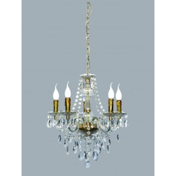 Reality LÜSTER chandelier brass, transparent, clear, 5-light sources