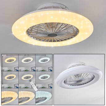 PIRAEUS ceiling fan LED white, titanium , 1-light source, Remote control