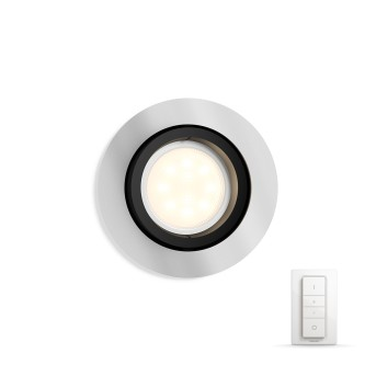 Philips HUE AMBIANCE WHITE MILLISKIN Recessed spotlight, extension silver, 1-light source, Remote control