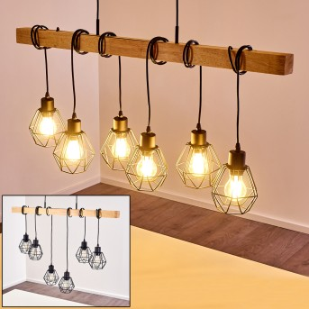 BARBENGO Pendant Light black, Light wood, 6-light sources