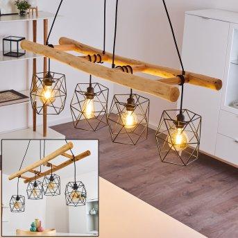 KOTOR Pendant Light black, Light wood, 4-light sources