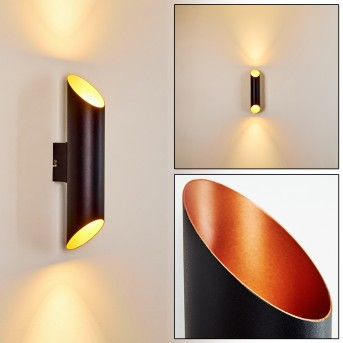 SAULCY Outdoor Wall Light LED black-gold, 2-light sources