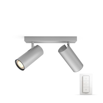 Philips HUE AMBIANCE WHITE BURATTO Spotlight base set silver, 2-light sources, Remote control