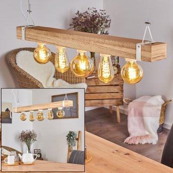 TORREVIEJA Pendant Light white, Light wood, 5-light sources