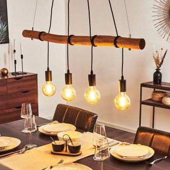 Seegaard Pendant Light black, Light wood, 4-light sources