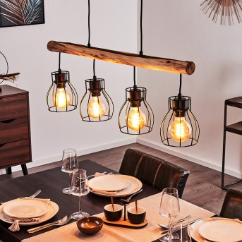 Pendant Light Gondo black, light wood, 4-light sources