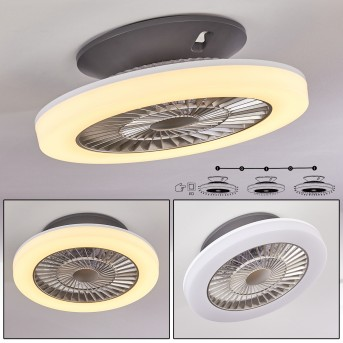 SOMALIA ceiling fan LED silver, transparent, clear, 1-light source