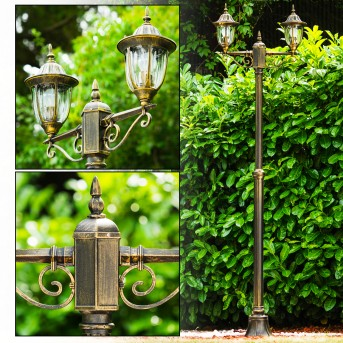 Ribadeo Lamp Post black-gold, 2-light sources