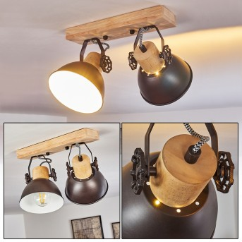 Ceiling Light Orny anthracite, light wood, 2-light sources