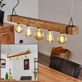 MONTGOMERY Pendant Light black, light wood, 5-light sources