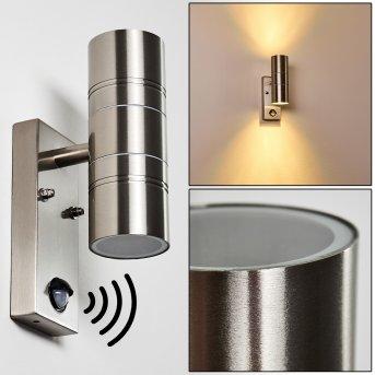 FROSLEV Wall Light LED chrome, 2-light sources, Motion sensor