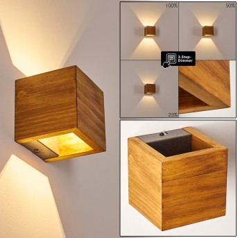 Adak Wall Light LED dark wood, 1-light source