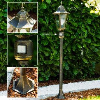 Bristol outdoor floor lamp brass, gold, 1-light source, Motion sensor