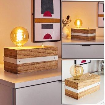 TORREVIEJA Table lamp white, Light wood, 1-light source