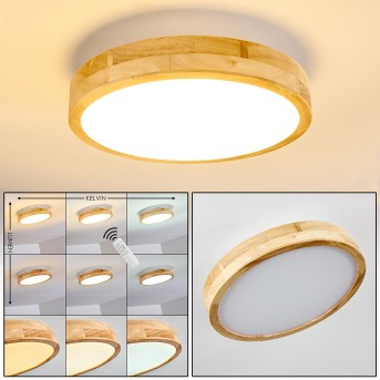 Bagaha Ceiling Light LED light wood, 1-light source, Remote control