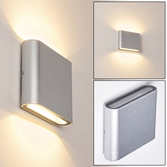 TINGLEV Outdoor Wall Light LED silver, 2-light sources