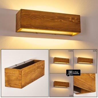 Adak Wall Light LED Dark wood, 1-light source